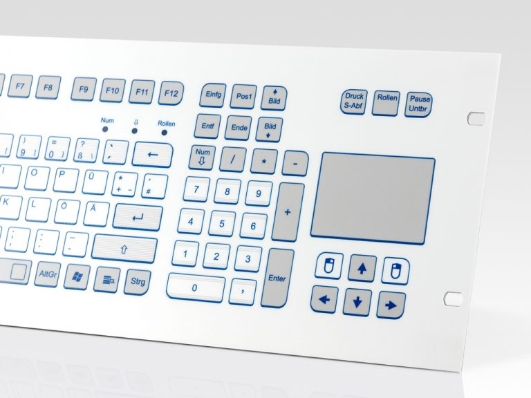 Teclado Industrial com Keypad e Touchpad (Rack)