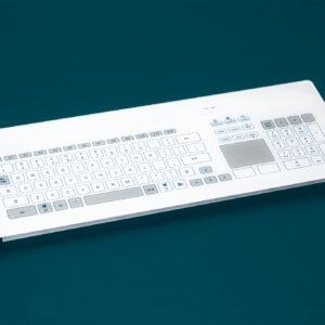 Teclado em vidro com Keypad e Touchpad (montagem frontal)